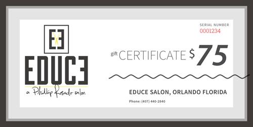 Purchase Educe Salon Gift Cards