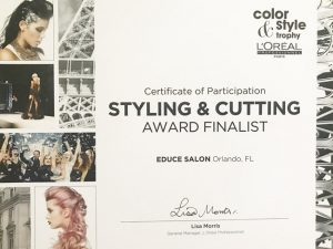 Educe Salon Styling and Cutting Award